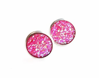 HYPOALLERGENIC Faux Druzy Earrings 12mm LARGE (Surgical Stainless Steel) - Fuchsia