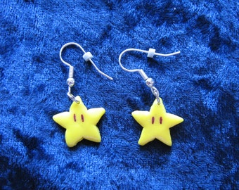 Mario-Inspired Super Star Polymer Clay Earrings