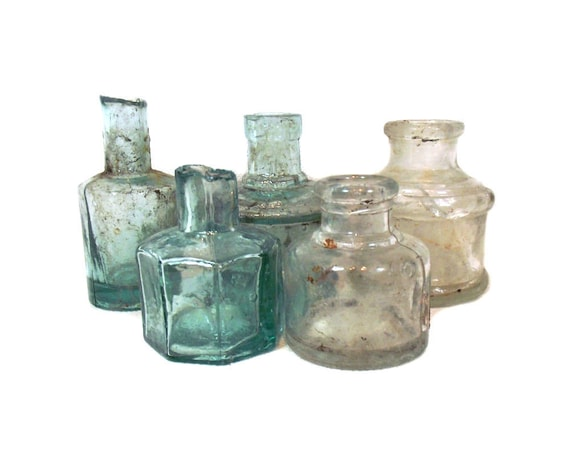 """2.75"""" Tall Antique Glass Ink Bottle Collection"""