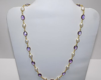 Amethyst and Pearl Necklace in Besel Setting made in .925 Sterling Silver Gold Tone Finish