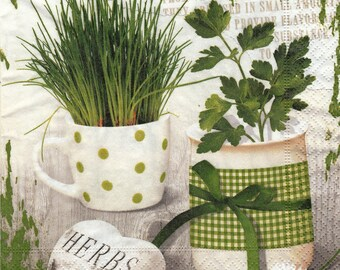 054 herbs 1 towel/napkin/servietten/tovaglioli lunch size paper
