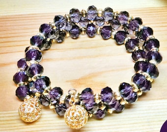 Wrap/Bangle Memory Stretch Bracelet Purple Velvet Crystal Rondel Gold Filigree Ball Ends 3-Strand Stretch One Size Fits All Easy On Easy Off