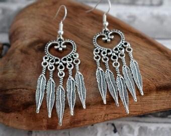 Boho earrings, Heart silver earrings, Festival earrings, Feather earrings, Gipsy earrings, Chandelier earrings, Everyday earrings