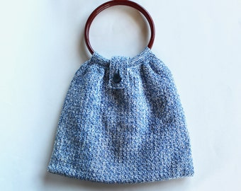 Vintage Blue and White Crocheted Purse with Plastic Handles and Button Closure