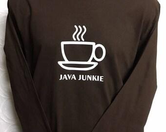 Java, Coffee, Coffee Shirt, Java shirt, Java Coffee Shirt, Long Sleeve Shirt.Brown Long Sleeve Shirt, Java Junkie