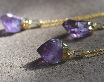 Gold Dipped Amethyst Necklace // Raw Amethyst Necklace // Healing Crystal Necklace // Raw Stone Necklace // Simple Gold Necklace Amethyst