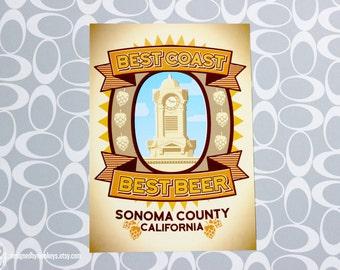Best Coast Best Beer - Sonoma County California Breweries Postcard