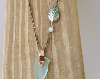 Authentic Santa Barbara Sea Glass and mixed metal aqua necklace
