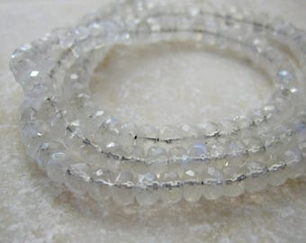 Rainbow Moonstone Faceted Rondelle Beads 4mm  - Half Strand 7 inches