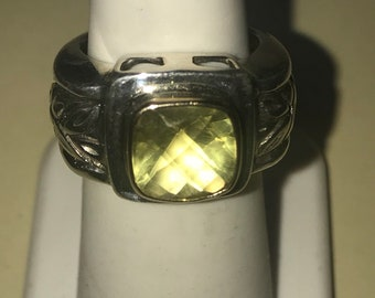 Sterling Silver 925 14kt Yellow Gold Designer M B Two Tone Bezel Set Checkerboard Cut Two 2 Carat Peridot Stone Oxidized Ring Band Size 6