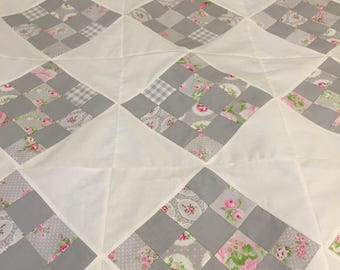 REDUCED Soft Gray Scrappy Quilt Top 58x58