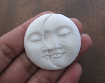 NEW ARRIVAL 1.5 inch  Moon FAce cabochon, Large moon phases,   Embellishment, Jewelry making SUpplies B6914