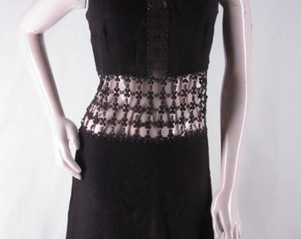 Vintage Mod Go-Go Dress S Black Peekaboo Open Floral Lace Midriff Inset Sleeveless