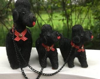Vintage WAGNER Flocked Poodle Miniature Dog Figure - Kunstlerschutz West Germany 60s
