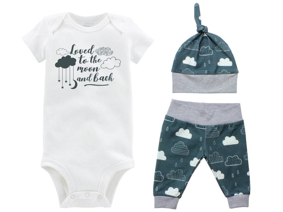 Boy Going Home Outfit Loved to the Moon and Back Onesie Bodysuit Infant Gift Set Clouds Moon Boy Coming Home Set Mountains Baby Shower Gift