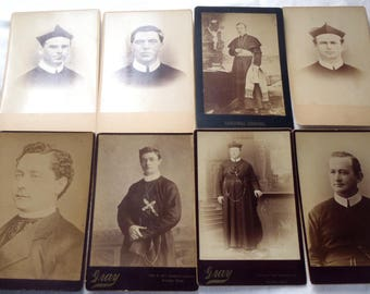 Vintage Cabinet Cards Priests 8 Pc.