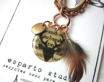 Book Page Deer Charm Necklace, Feather Necklace, Book Jewelery, Books Gift, Book Lover Literary Jewelry
