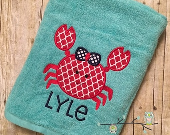 Girly Crab with Bow Applique Beach Bath Towel - Personalized, Monogrammed