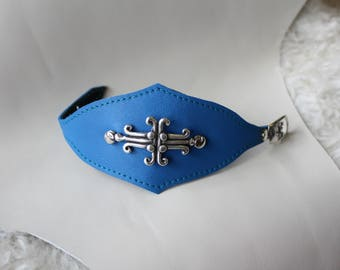 Leather wristband. Leather cuff. Faery bracelet. leather wristlet. Blue leather cuff