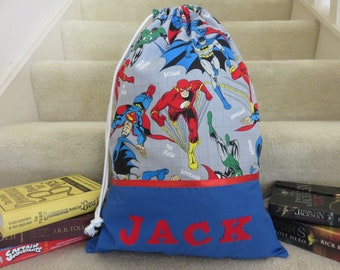 Children's Personalised Library Bag / Book Bags - Justice League -