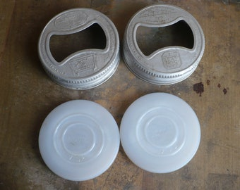 Vintage Glass Canning Lids, Milk Glass Canning Lids with Rings, White Milk Glass Insert