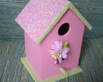Springtime Pink Painted Birdhouse