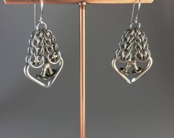 Eros Earrings Surgical Stainless Steel with Nailmaille Unbreakable Hearts