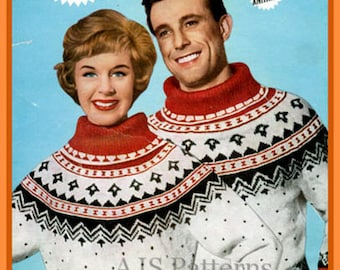 PDF Knitting pattern for a Womans & Mans Christmas Nordic/ Fair Isle Jumper - 1950's - Instant Download