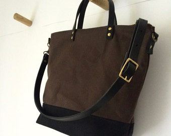 COMMUTER BAG | Mid-Size Waxed Canvas Leather Tote | Crossbody Shoulder Strap | Messenger | Zipper Top | 4 Pockets | Brown