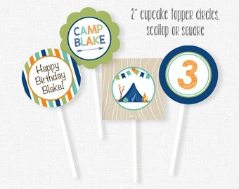 Camping Cupcake Toppers, Camping Party Decorations, Boy Camping Birthday, Printable Cupcake Toppers