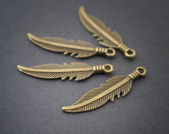 both sides in antique bronze feather charms * 4 * 26mm x 6mm