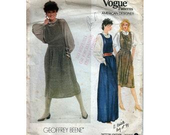 "Vogue American Designer 80s Womens Sewing Pattern Jumper & Blouse Geoffrey Beene Size 8 Bust 31.5"" (80cm) Vogue 2872 S"