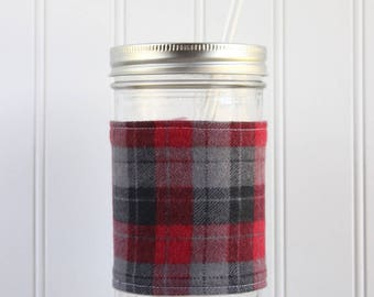 Red & Gray Plaid Flannel Mason Jar Sleeve - for PINT AND A HALF Mason Jar (24 oz)