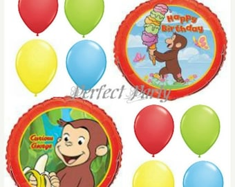 ON SALE 10 Pc Curious George Balloons bouquet kit  Birthday party balloons