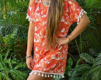 Orange tassel  dress
