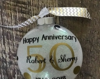 50th anniversary gift, ornament, shatterproof