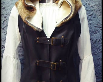 Leather & Fur Hooded Gilet