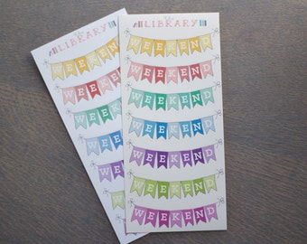 7 Multi-Coloured Weekend Banner Planner Stickers, Perfect for Erin Condren, Plum Paper, inkwell press, Happy Planner