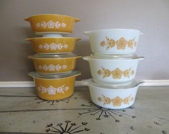 7 Vintage Pyrex Butterfly Gold Casserole Dishes Small Casseroles Vintage Kitchen Orange Pyrex Floral Pyrex Gold Pyrex Serving Bowls Harvest
