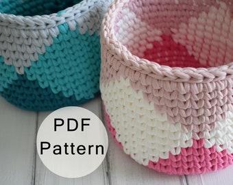 CROCHET PATTERN - Crochet Basket Pattern, T-shirt Yarn Basket, Crocheted Basket, Tapestry Basket Tutorial, Tshirt Yarn Basket, Crochet Bowl
