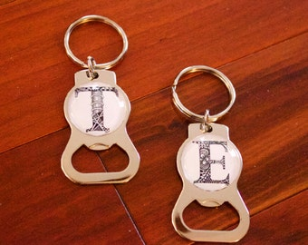 Personalized Keychain & Bottle Opener with hand-drawn Zentangle® Inspired Art - Choose Your Letter