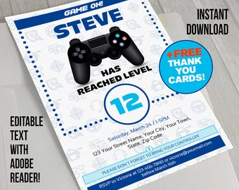 Video Game Invitation with FREE Thank you Card!- INSTANT DOWNLOAD - Video Game Party (Blue) - Edit and print at home with Adobe Reader