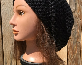 Slouchy Beret w/matching Boot Cuffs in Black Sparkle ~Handmade Crochet Super Soft & Comfy