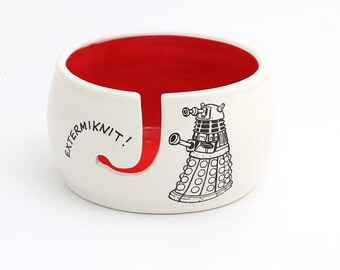Doctor Who yarn bowl , dalek yarn bowl , large knit bowl , gift for knitter, crochet, Dr. Who fan , whovian , extermiknit