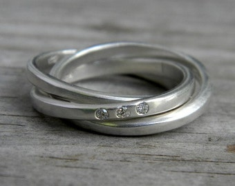 Argentium Sterling Silver Ring,  No Conflict Diamond Rolling Ring, Silver Nesting Ring with Flush Set Diamond, Handcrafted Matte Band