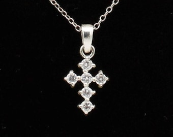 Tiny CZ and Sterling Silver Cross