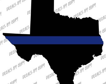 Texas State US Thin Blue Line Outline Car Decal Houston San Antonio Dallas Austin LEO Sheriff Highway Patrol Trooper Police Law Enforcement