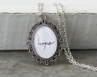 """Necklace """"Hope""""/quote, love message, saying, love, minimalist,"""