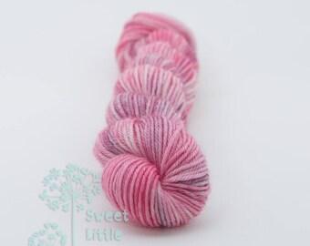 Mini skein - Beautiful hand dyed pink and purple hank of sock weight superwash merino wool