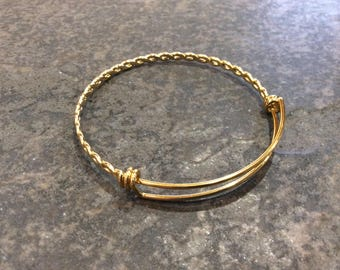 """GOLD STAINLESS STEEL bangles with twisted chain detail adjustable wire bangle bracelet blanks sold per piece Beautiful Quality 2 1/2"""""""